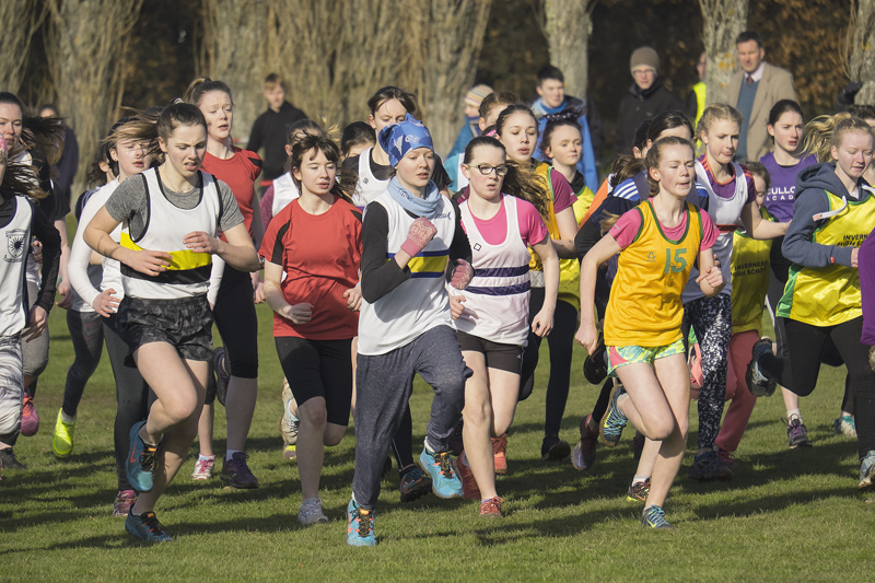 The start of the under 15 (C) North District Secondary Schools XC race with Lily and Naimh Whelan pretty much leading the field...
