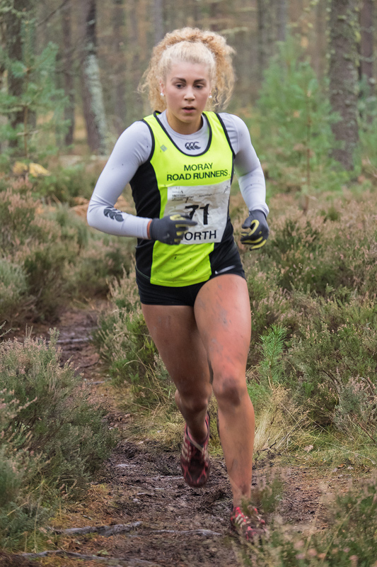 Sophia Green finishing strongly to take silver medal position behind Anna MacFadyen (Forres Harrier) in the under 17 girls race...
