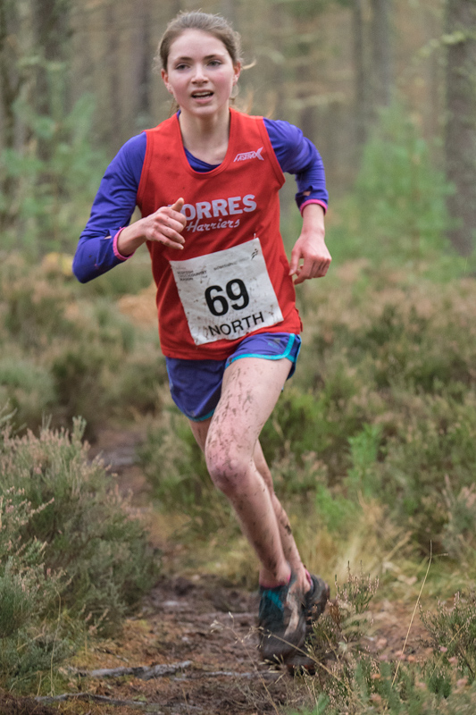 Under 17 girls winner of the North District cross country championship, Forres Harriers Anna MacFadyen, won her event easily...