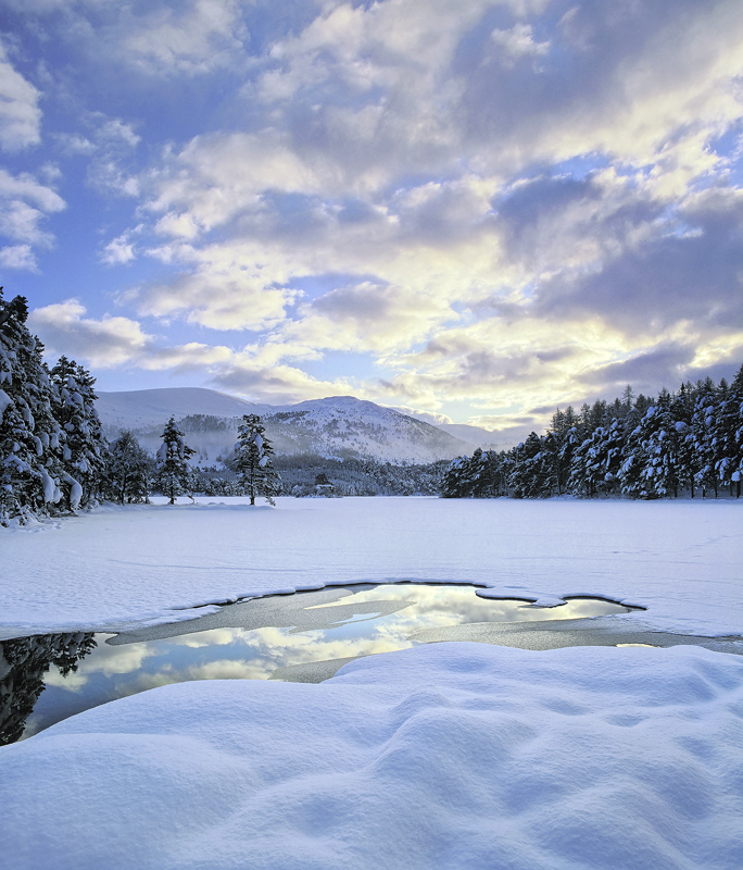 Unblemished Eilein, Loch An Eilein, Cairngorm, Scotland, deep, pillows, white, snow, sky, pristine, dimpled, reflection photo