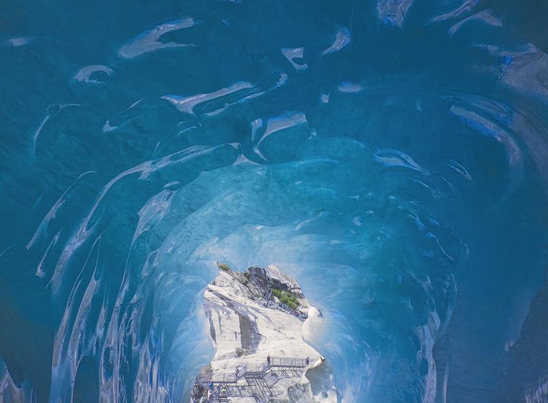 Under Pressure, Mer De Glace, Chamonix, France, ice, caverns, blue, compressed, Mont Blanc Massif, glacial, tunnel, tour photo