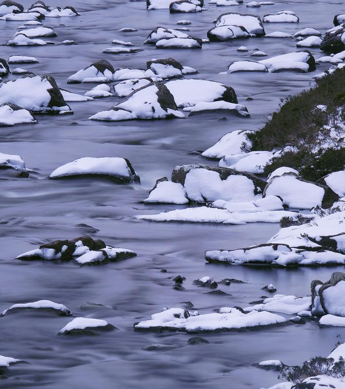 Liquid Blue, Torridon, Highlands, Scotland, river, cloud, twilight, darkened, fresh, snow, rocks, moraine  photo