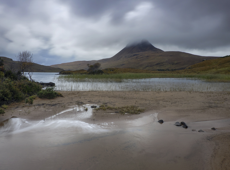 Wind Rush Loch Lurgainn, Loch Lurgainn, Inverpolly, Scotland, subdued, tan, peak, Stac pollaidh, mood, reed bed, water,  photo