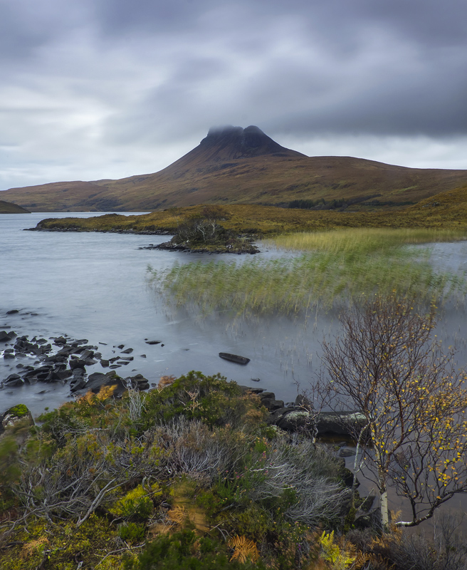 Windy at Stac Pollaidh, Loch Lurgainn, Inverpolly, Scotland, strong, winds, pummelled, moody, grey, Stac Pollaidh, summi photo