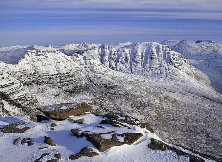 Winter Altitude, Horns of Alligin, Torridon, Scotland, summit, Torridonian, Tom Na Gruigach, snow, morning, winter, moun photo
