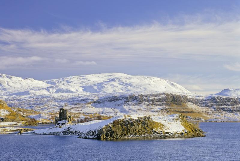 Winter Ardvreck Castle, Loch Assynt, Sutherland, Scotland, remote, blue, gold, Christmas, calendar, chocolate box, sunli photo