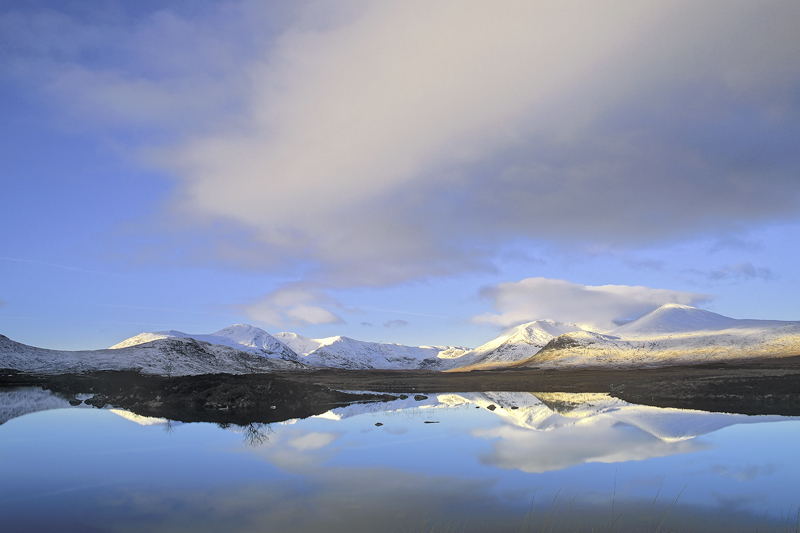 Winter Blackmount, Rannoch Moor, Glencoe, Scotland, distant, light, dawn, mountain, dappled, winter, reflected, reflecti photo