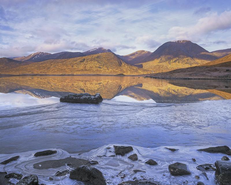 Winter Dawn Dochard, Loch Dochard, Highlands, Scotland, remote, lochan, dawn, tent, camping, breathlessly still, ice photo
