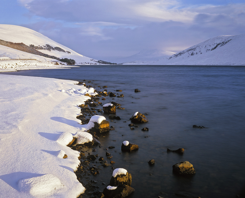 Winter Dawn Loch A Chroisg, Loch A Chroisg, Achnasheen, Scotland, fine, still, winter, sunrise, shadows, snow, pink  photo