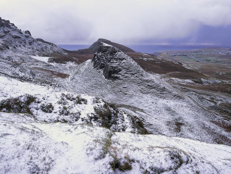Winter Frieze Trotternish, Trotternish, Skye, Scotland, winter, dusting, snow, ridge, contour, sheep, lines, showers, St photo