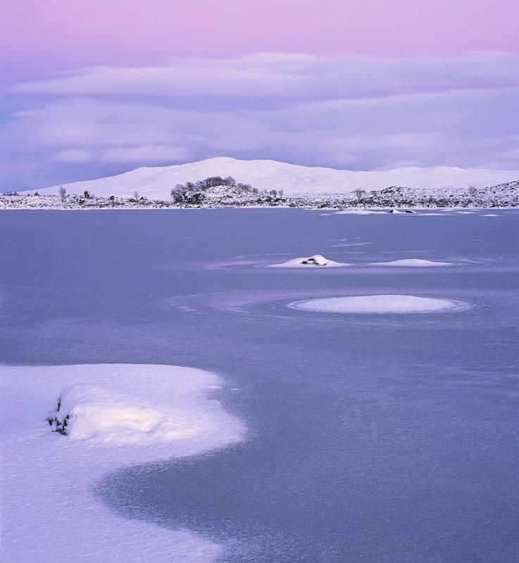 Winter Gloaming Loch Ba, Loch Ba, Rannoch Moor, Scotland, twilight, dusk, pink, blue, steely, bitterness, reflected, sno photo