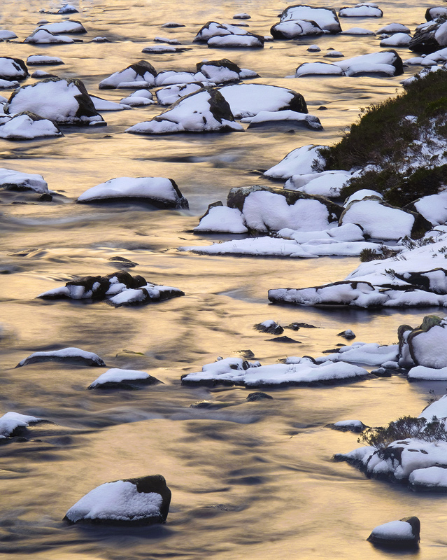Winter Gold Reflection, Torridon, Highlands, Scotland, winter, river, moraine, snow, reflected, boulders, gold, blue   photo