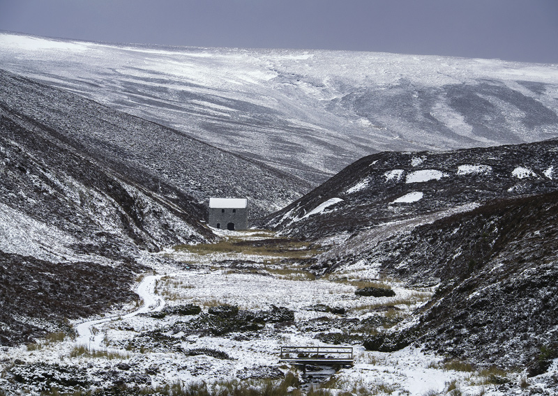 Winter Lead mill, Well of Lecht, Grampians, Scotland, solitary, grey, building, mill, heather, slopes, muted, colour photo