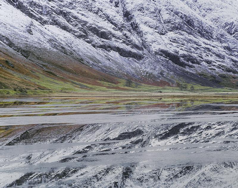 Winter Mirror Achtriochtan, Loch Achtriochtan, Glencoe, Scotland, freezing, reflection, ice sheets, snow, flat,  photo