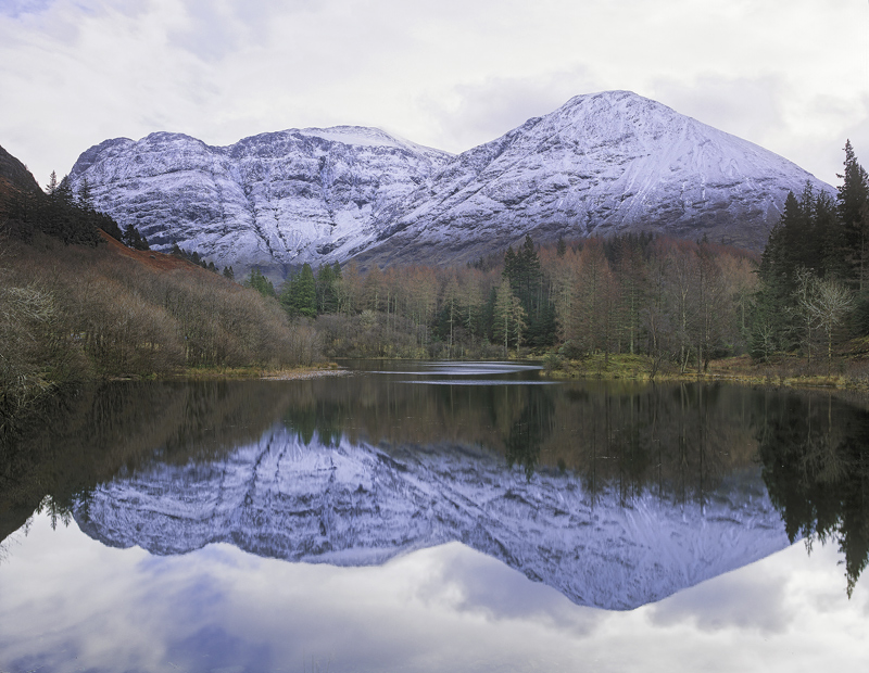 Winter Mirror, Loch Torren, Glencoe, Scotland, pool, water, wooded, Clashach, mirror, mountain, snow, winter, dusted, re photo