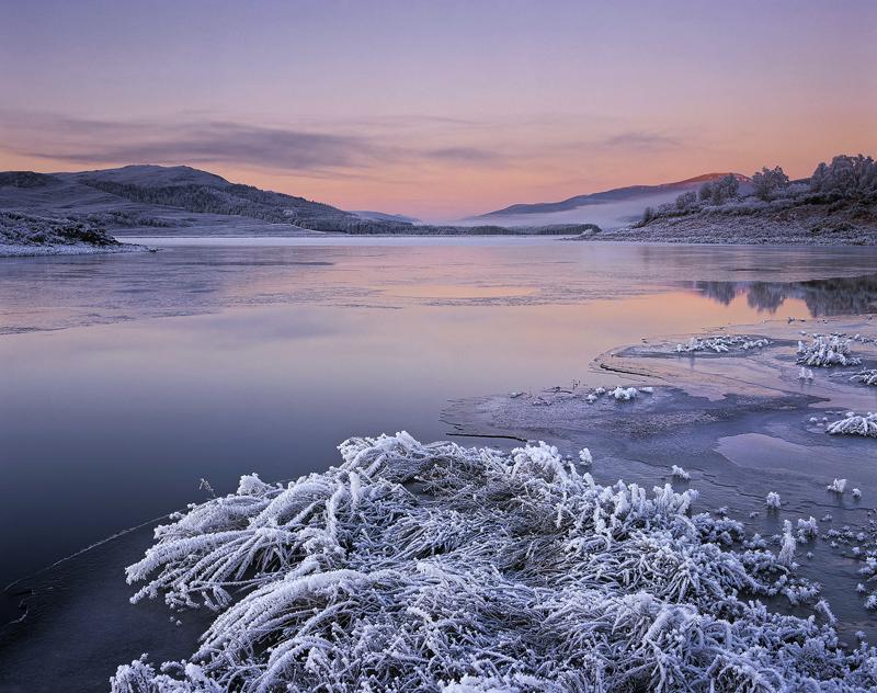 Winter Strathbran, Loch Achanalt, Strathbran, Scotland, sunrise, frozen, loch, Achnasheen, pinkening, earth shadow, wint photo