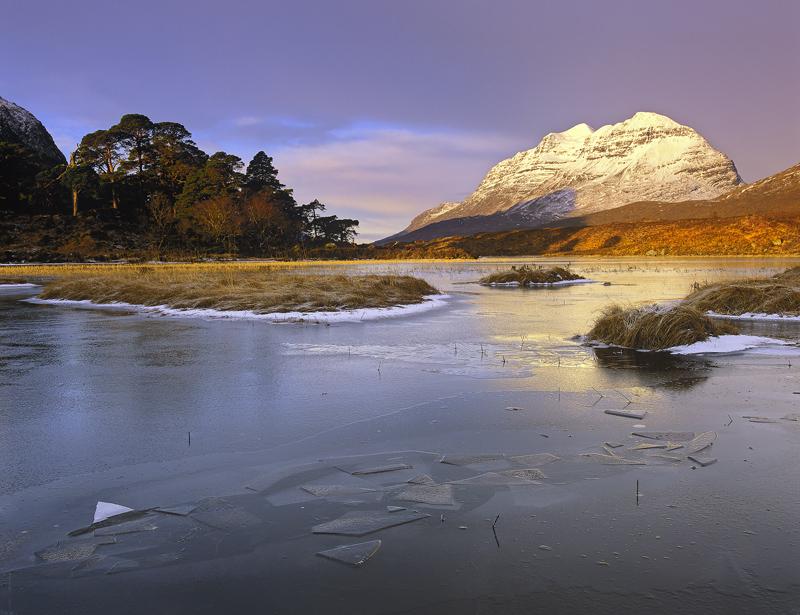 Winter Sunrise Loch Clair, Loch Clair, Torridon, Scotland, snow, peak, mountain, Liathach, frozen, ice, frost, reflectio photo