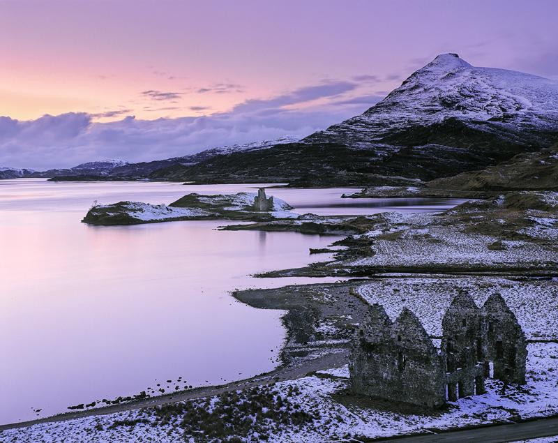 Winter Twilight Ardvreck, Ardvreck Castle, Assynt, Scotland, viewpoint, Calda House, gable, Quinag, castle, sky, dusk  photo