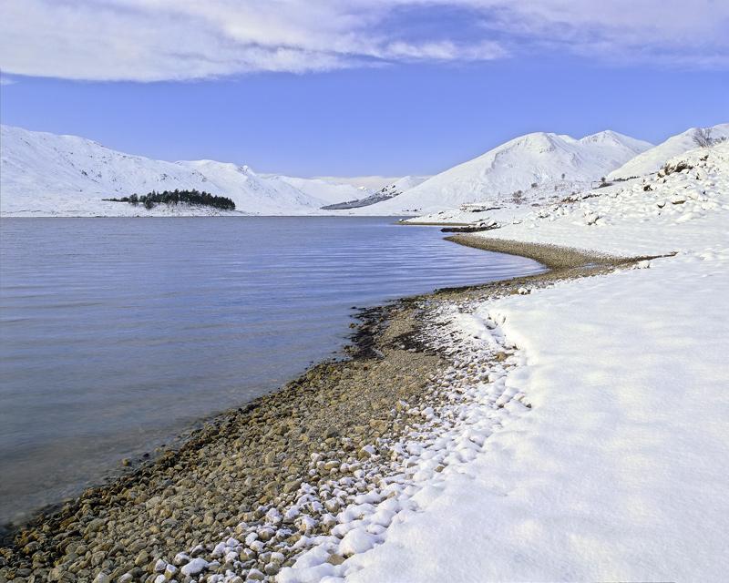 Winter Wilderness, Loch Cluanie, Glen Shiel, Scotland, beautiful, morning, pristine, snow, unblemished, shingle, beach photo