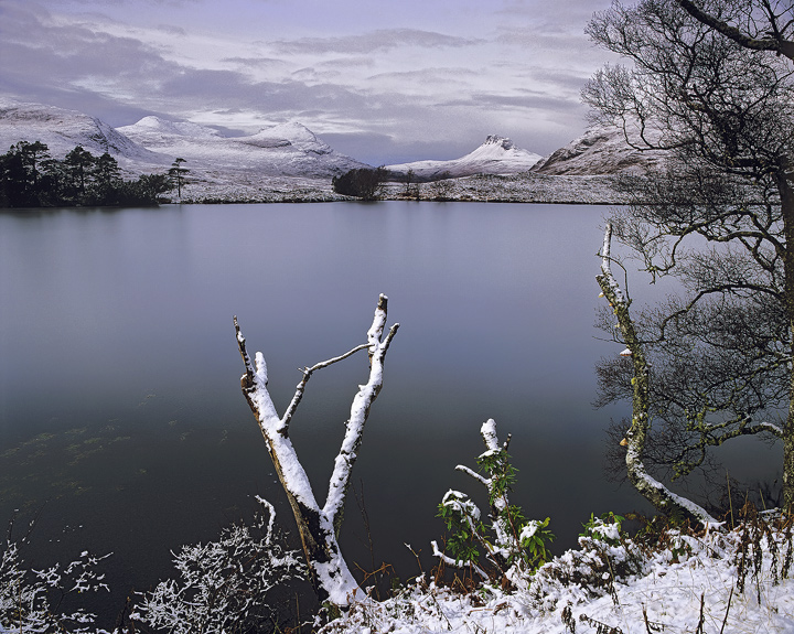 Winter View Inverpolly, Drumrunie, Inverpolly, Scotland, lochan, peaks, smooth, water, ice, snow, muted, sombre, Stac Po photo