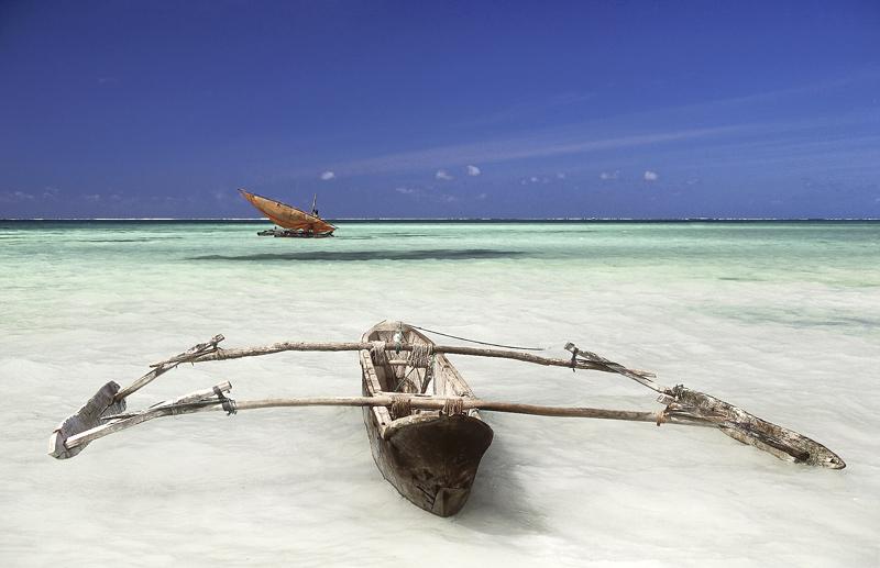 Zanzibar Dhow, Zanzibar, Tanzania, Africa, beautiful, deserted, coast, palm, paradise, clear, blue, outrigger, sea photo