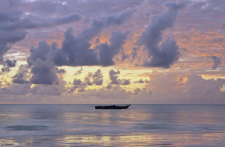 Zanzibar Watercolour, West Coast, Zanzibar, Africa, skies, sunset, clouds, sea, storm, sky, backlit, outrigger, boat, ce photo