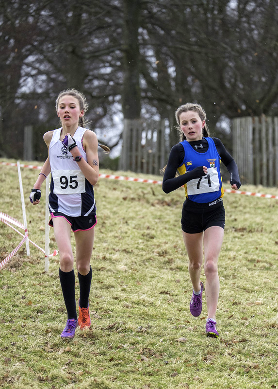 The comfortable first and second place runners in the Group C race held over over 4km were Anna Hedley (left) and Anya Maclean...