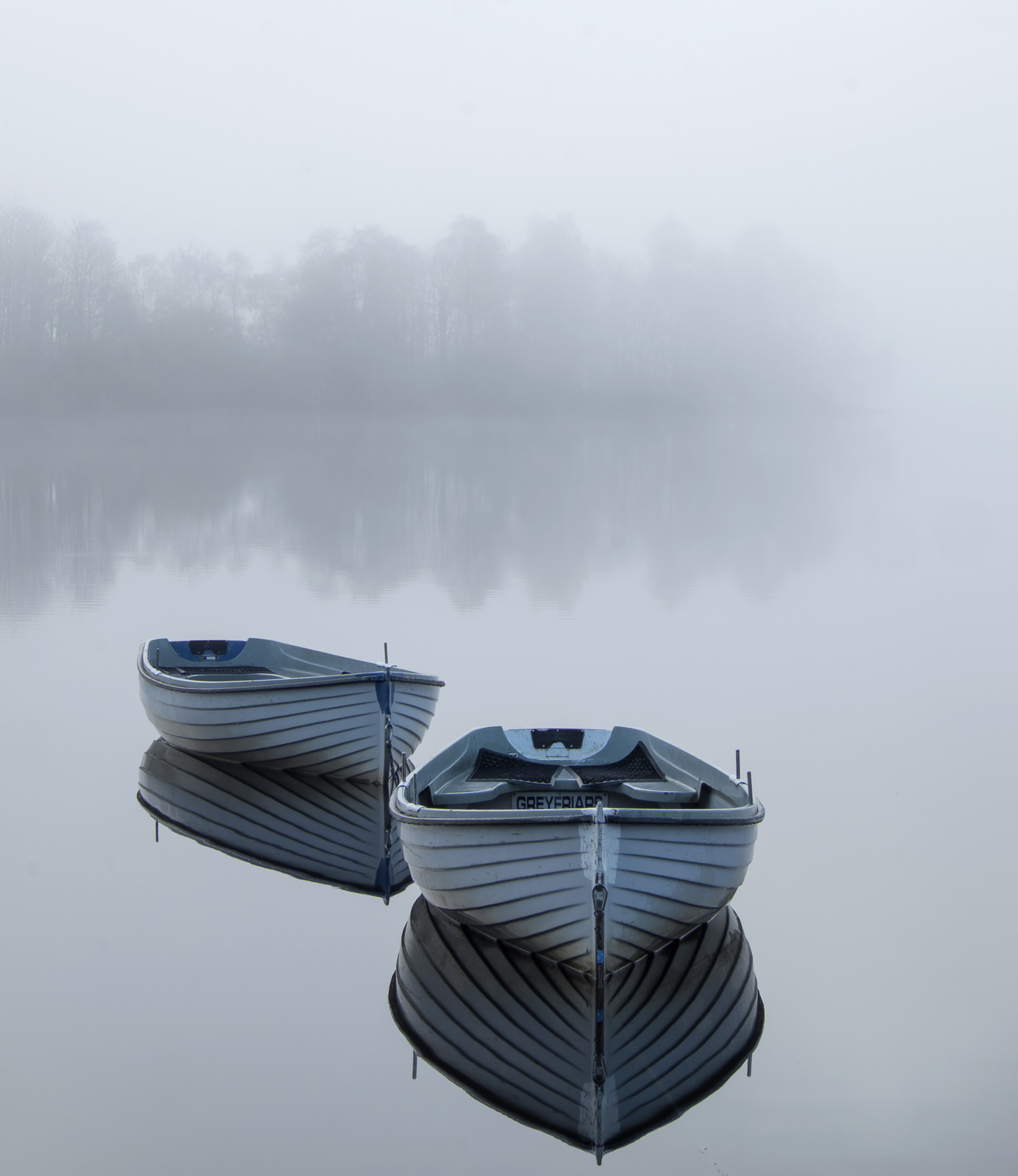 Adrift Rusky, Loch Rusky, Trossachs, Scotland, separated, boats, delicate, line, silhouetted, trees, reflected, orientat, photo