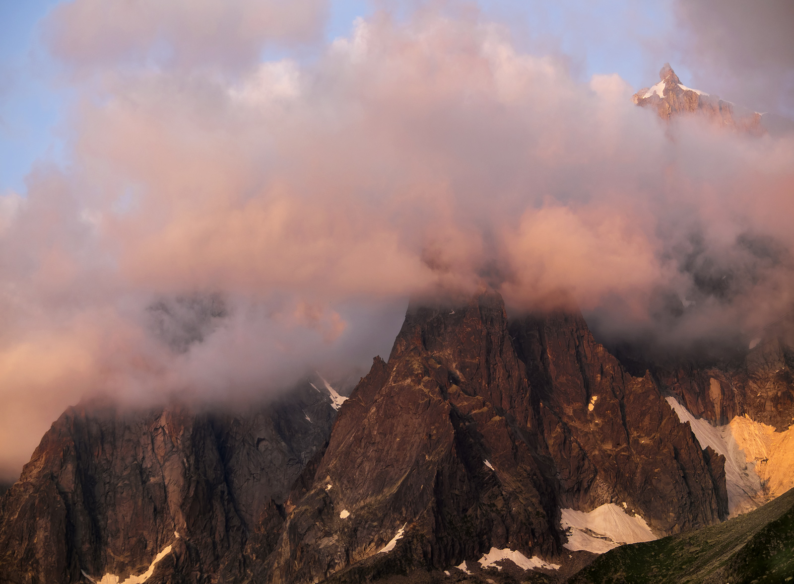 This was quite literally the last light after a passing summer storm closed in and smothered the Aiguille Du Midi in the Mont...