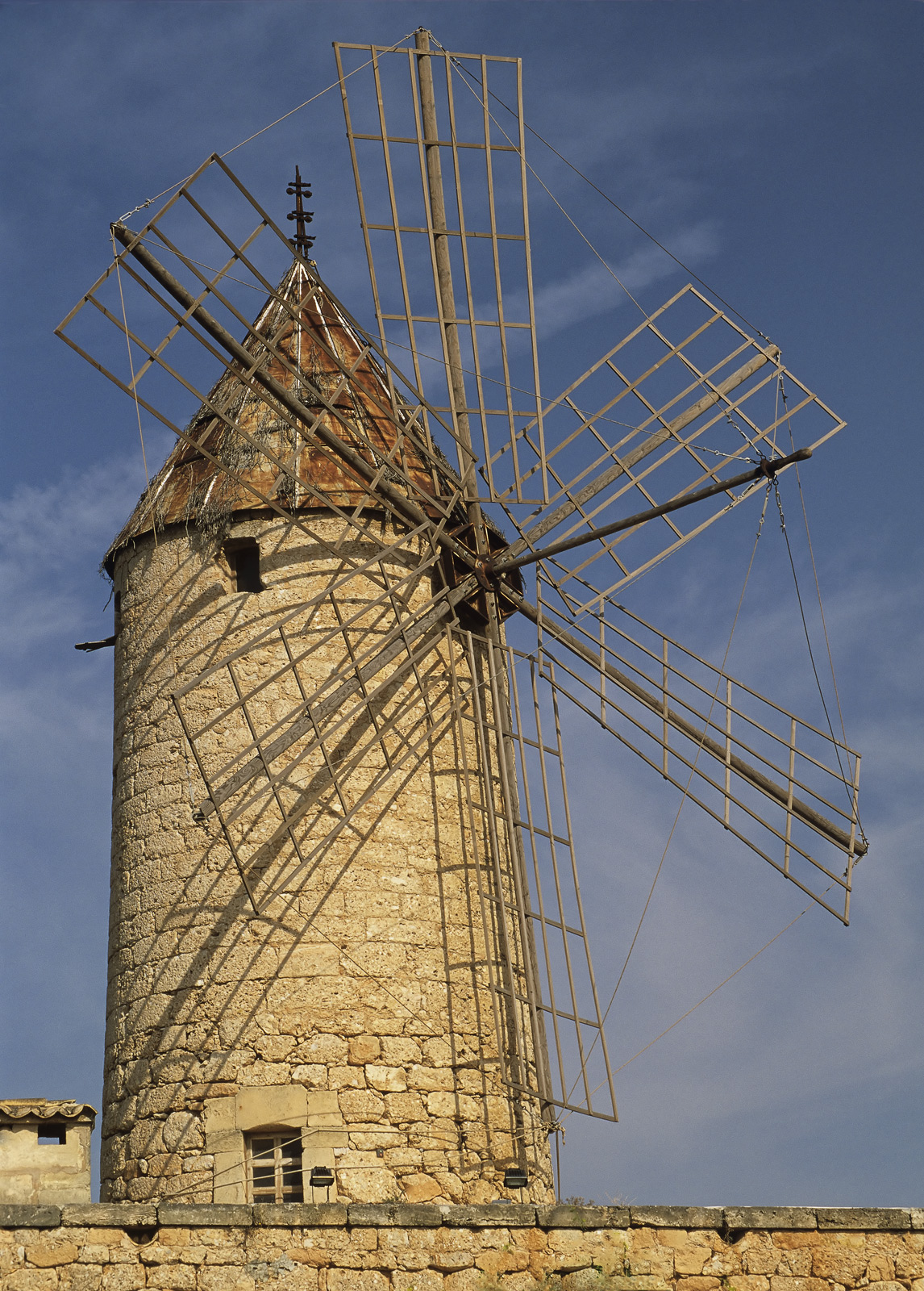 Antique Turbine, Casares, Andalucia, Spain, honey, sandstone warm, evening, light, skeletal, sails, picturesque, cloud, , photo