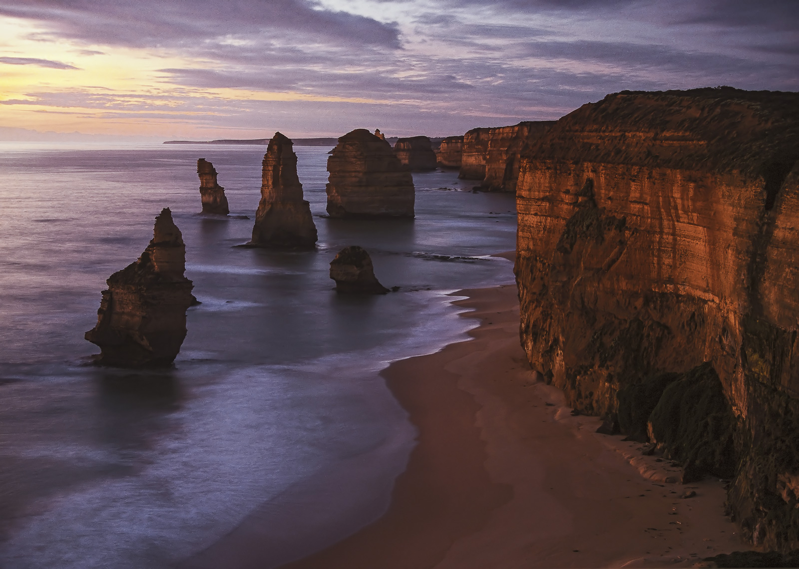 The first of the famous Australian icons known as the 12 apostles has collapsed into the sea leaving this configuration of sea...
