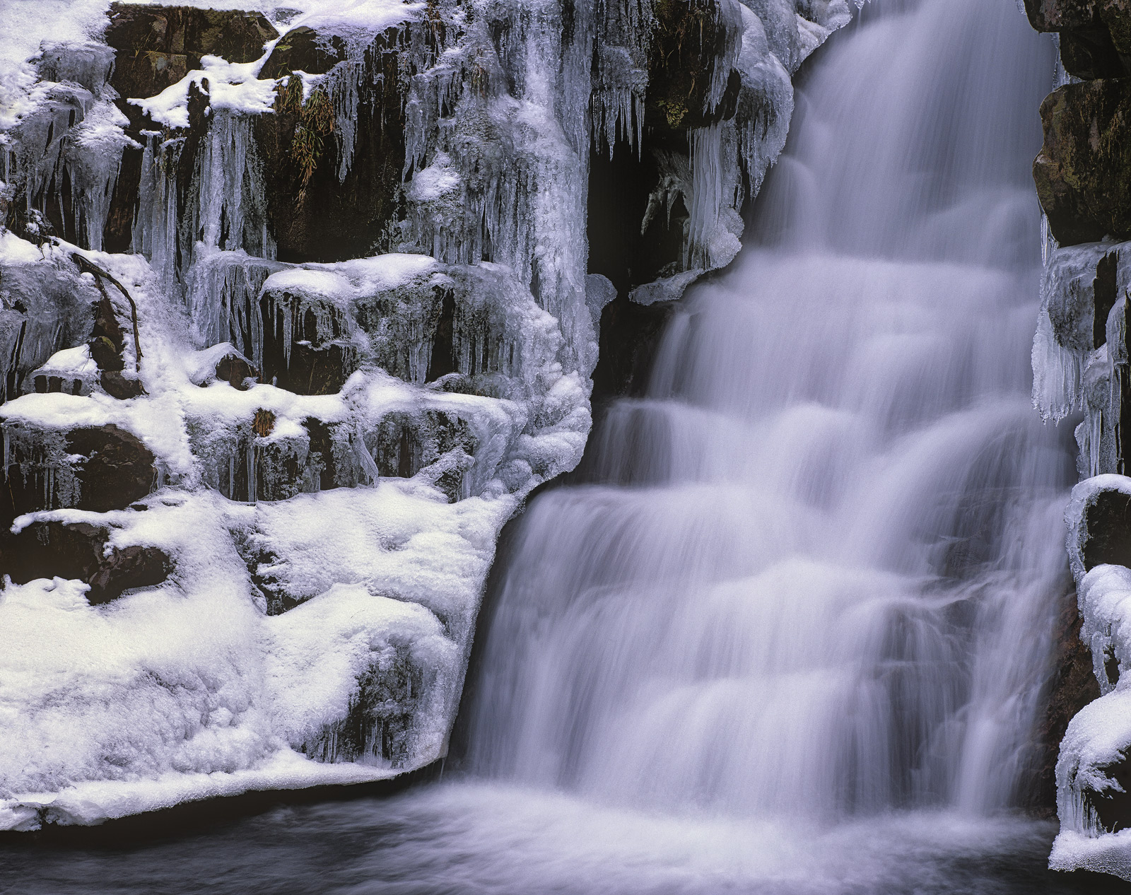 Ardessie Ice Falls, Ardessie, Ross Shire, Scotland, waterfall, road, attractive, shape, ledges, cascade, frozen, icicles, photo
