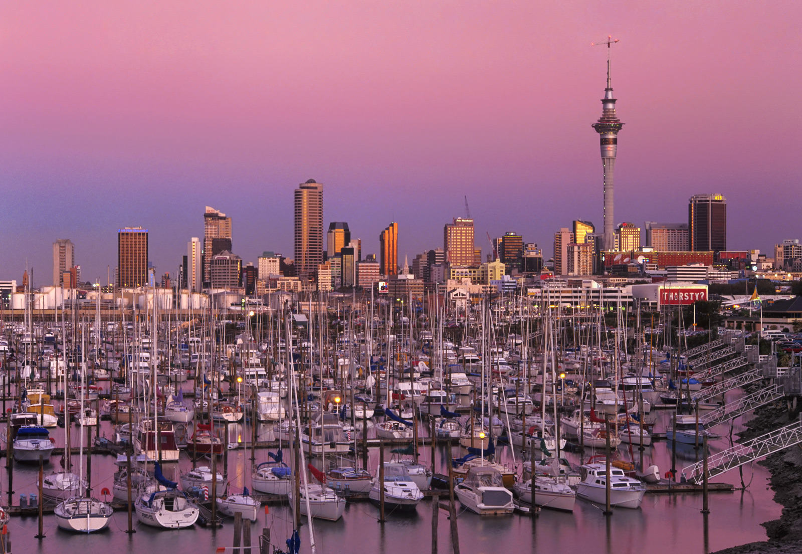 The most beautiful pink sky formed over Auckland marina shortly after sunset with the earths shadow slowly climbing through it...