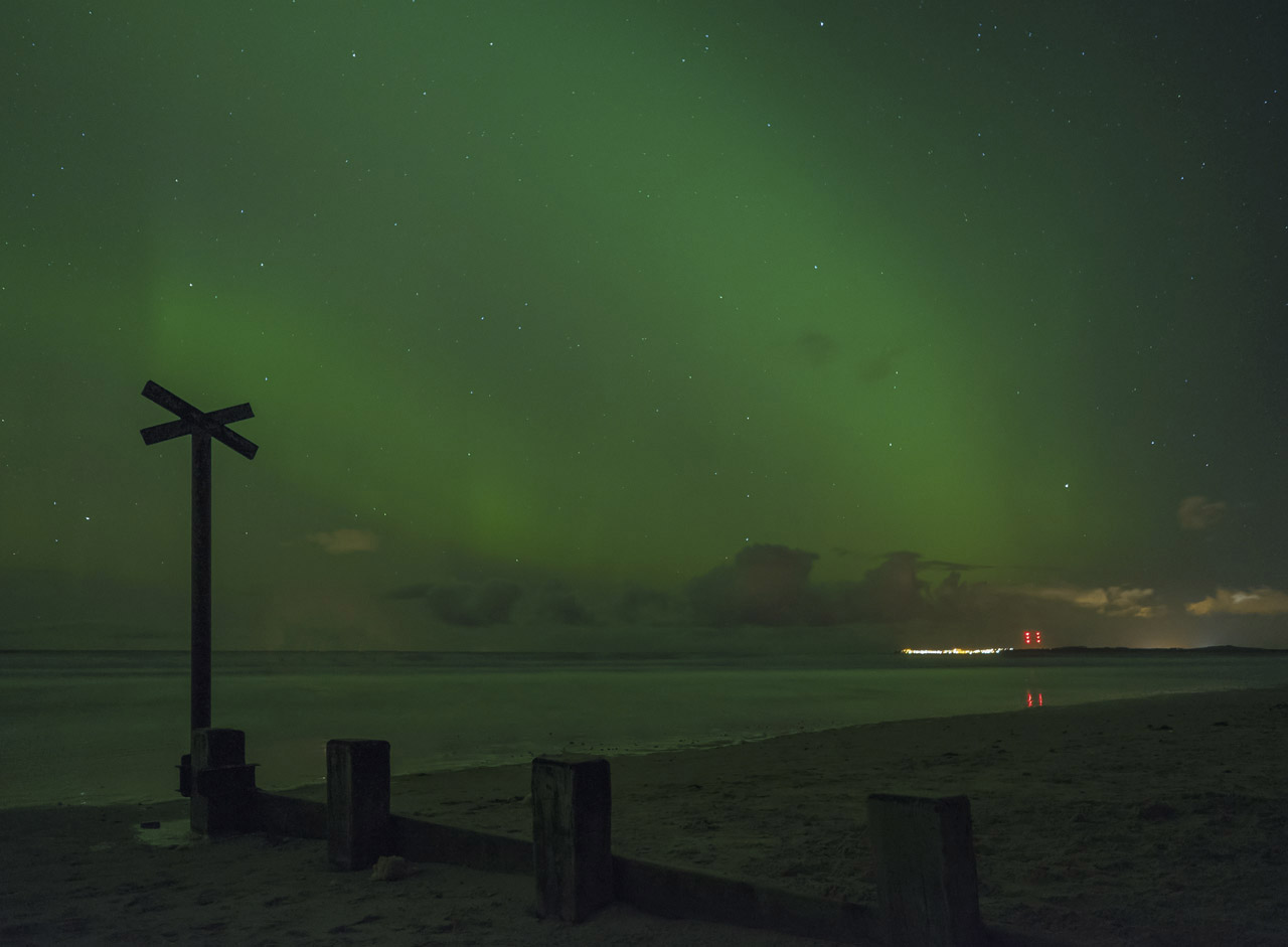 The recent aurora flickered with green curtains of light, this was taken from Findhorn beach our local dark spot. I went...
