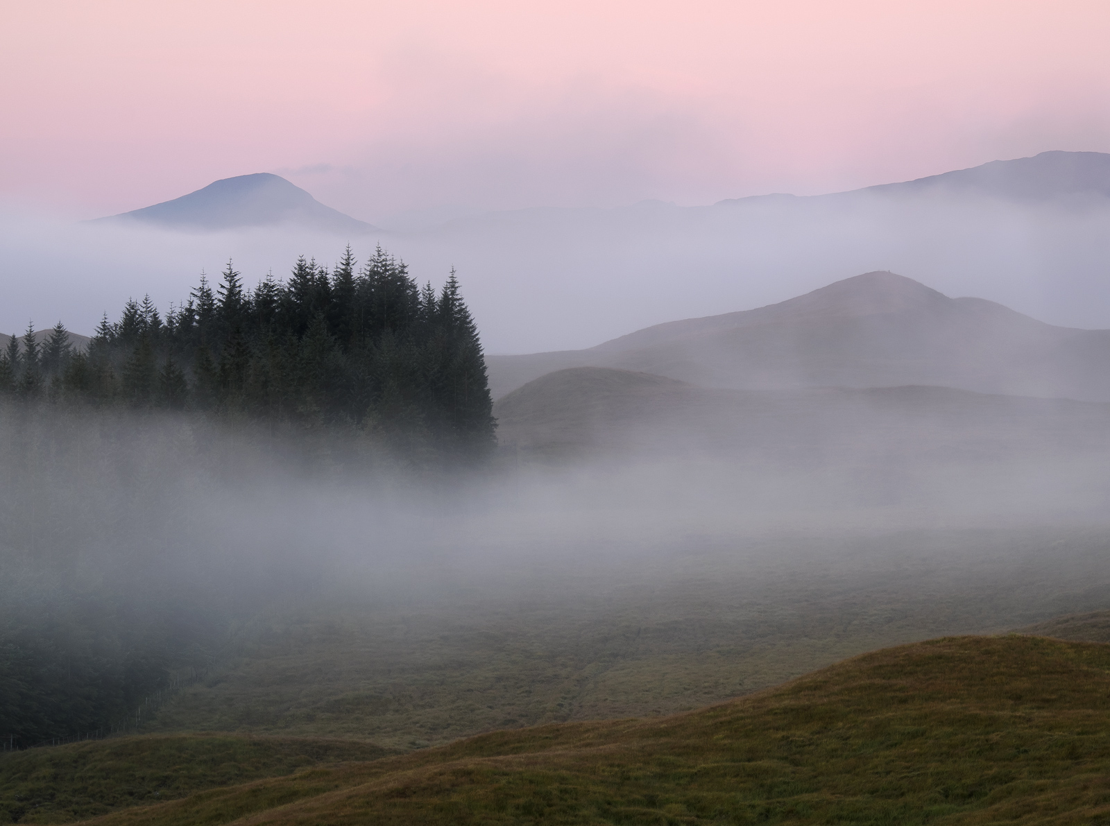 A pink dawn struggles to make its presence felt through a dense mist hanging over Loch Tulla. As the heat of the day builds...
