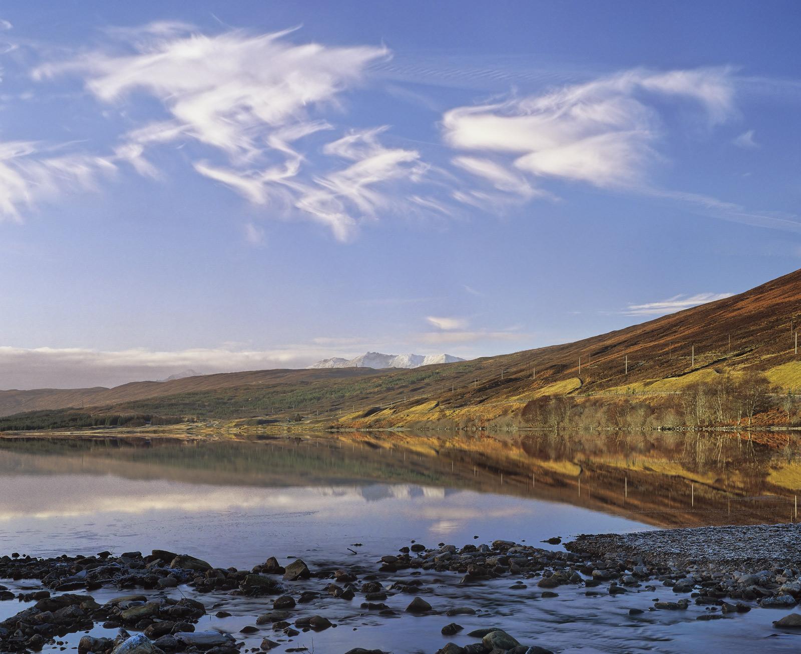 Becalmed Loch a Chroisg, Loch a Chroisg, Achnasheen, Scotland, beautiful, sunshine, mirror, reflection, clouds, ice, sno, photo