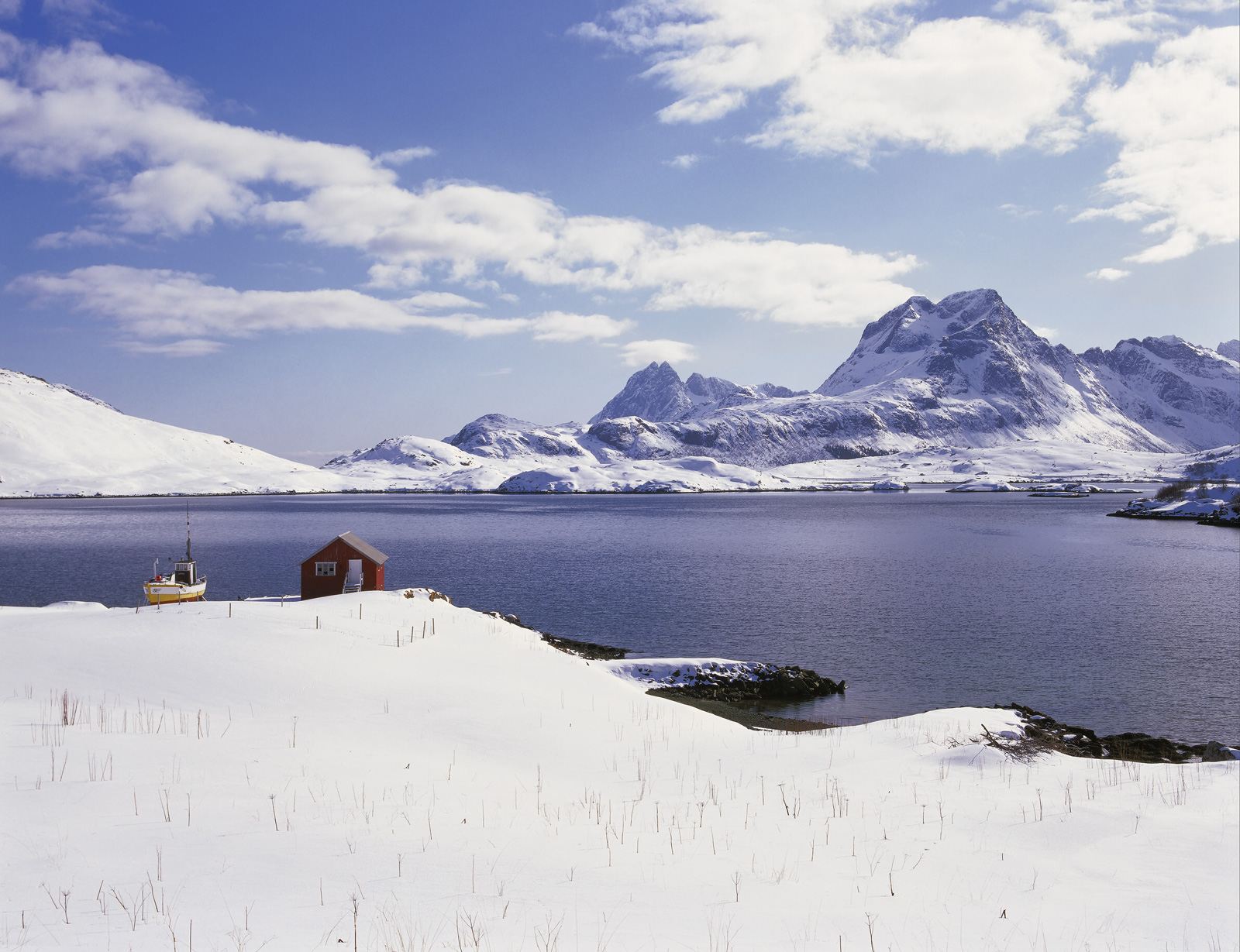 Bedazzled Selfjord, Selfjord, Lofoten, Norway, toothpaste, fresh, white, dazzling, snow, mooring, boat, boat shed, red, photo