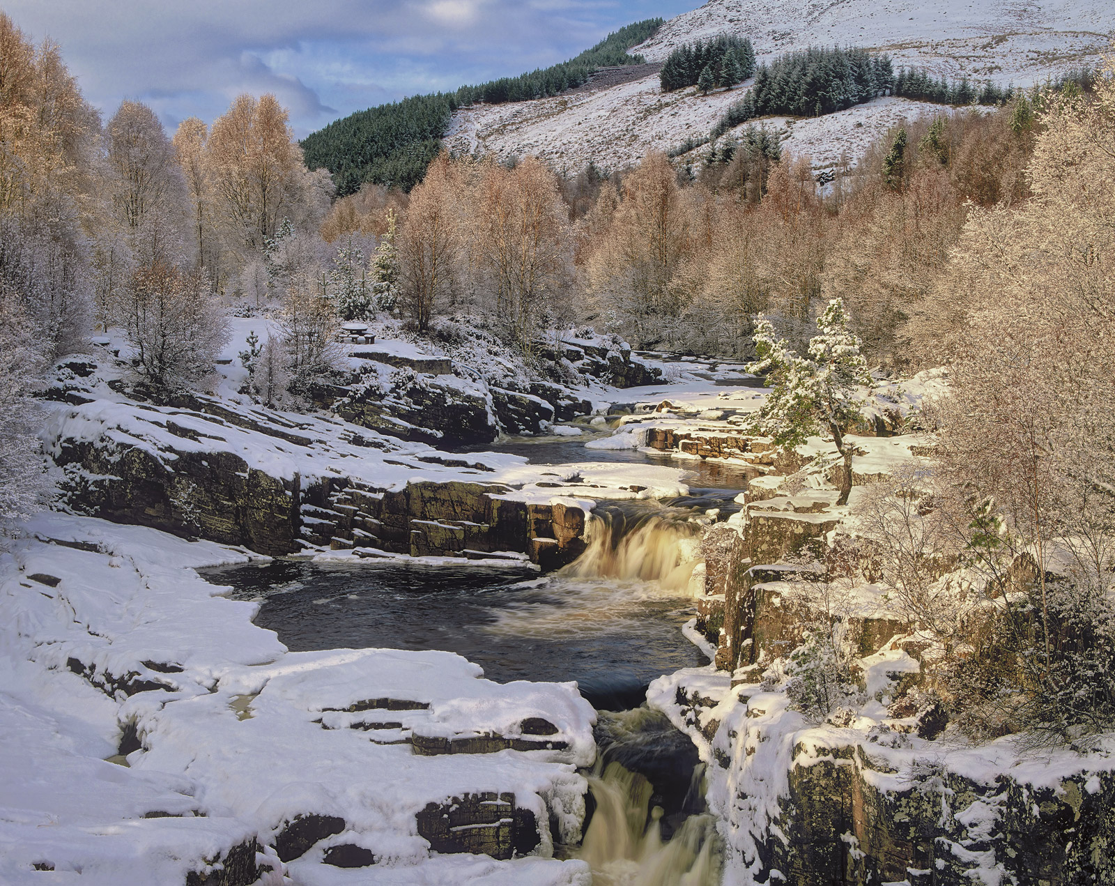 Black Water Gold, Garve, Highlands, Scotland, bridge, cascades, pools, snow, solitary, Scots Pine, brush, birch, canopy , photo