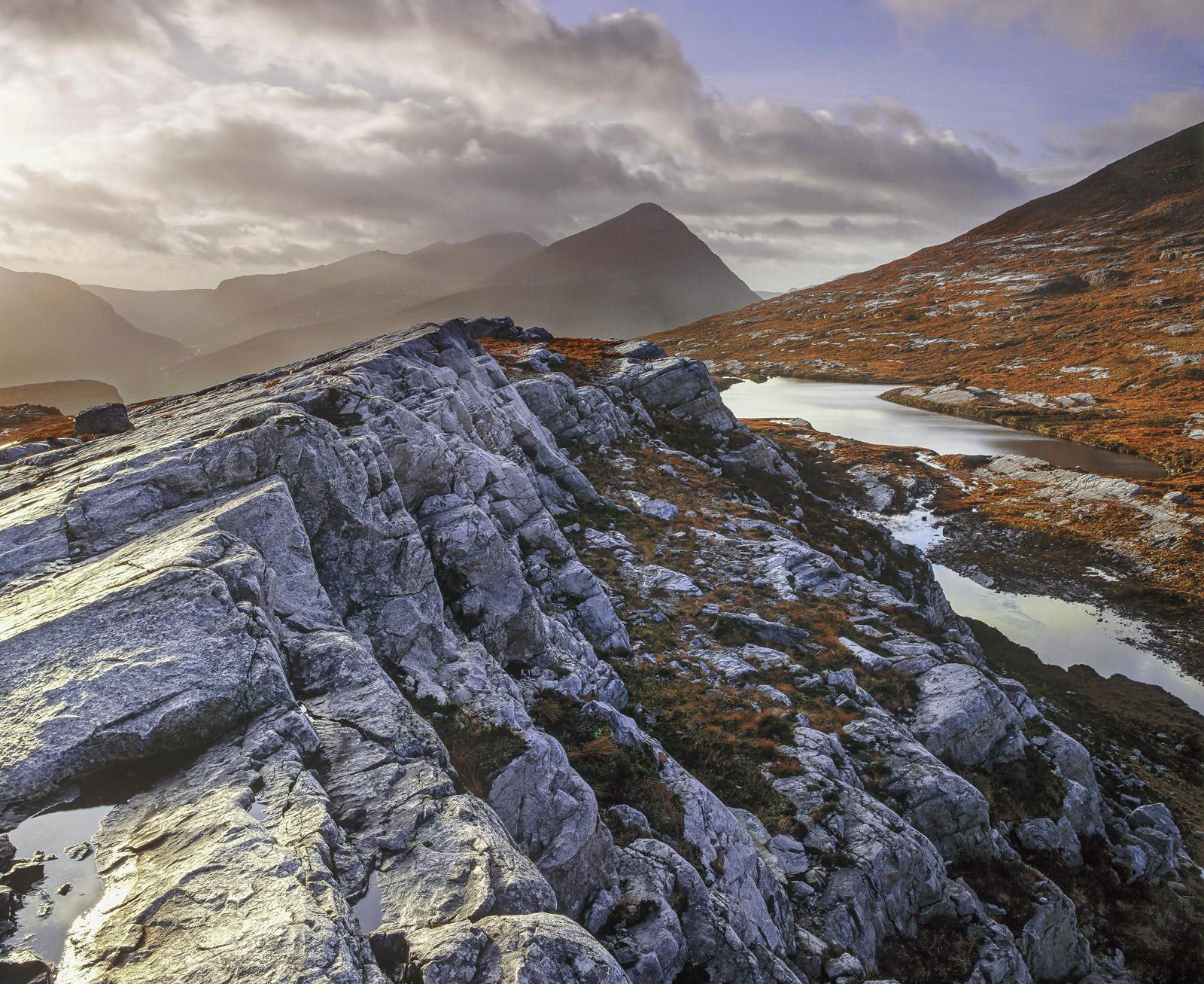 Blue Ridge An Teallach, Dundonnell, Ross-Shire, Scotland, autumnal, ridge, rock, Fannichs, blue, sidelighting, peak, wat, photo