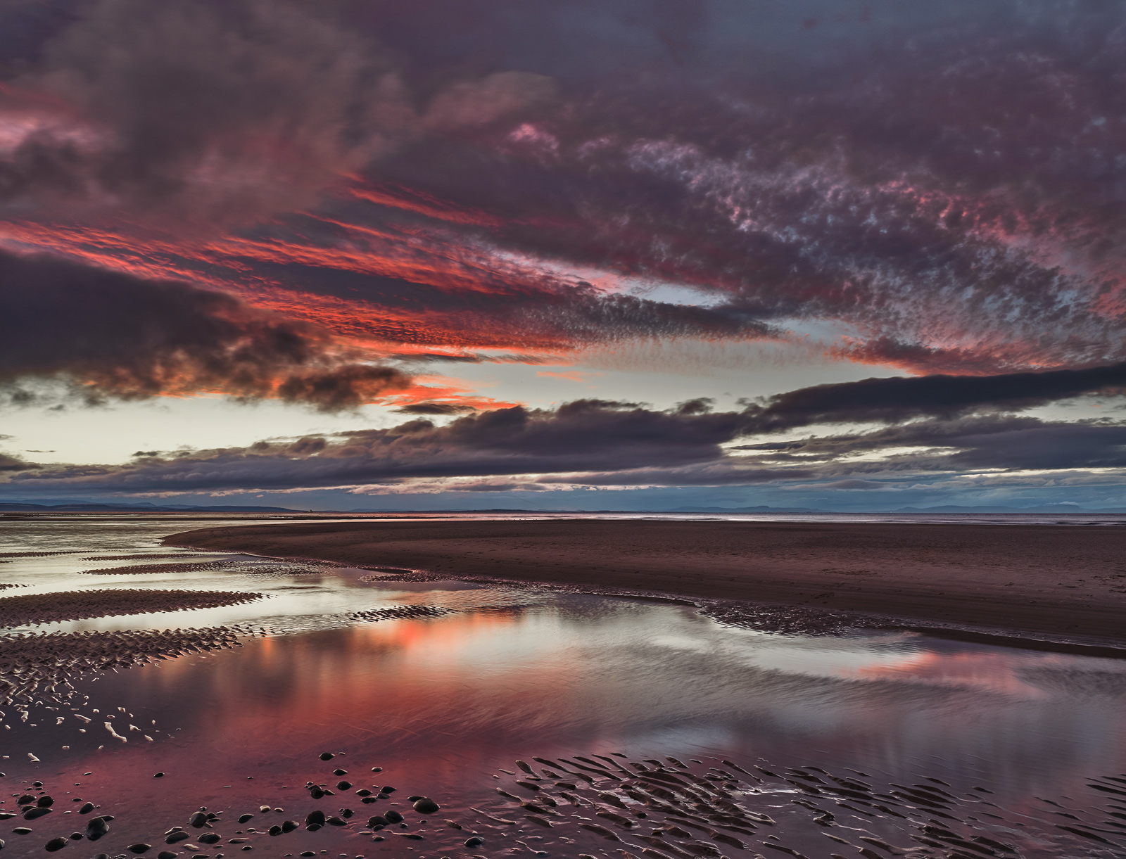 Blueberry Findhorn, Findhorn, Moray, Scotland, sunset, sky, plum, violet, purple, channel, lagoon, banana, wisps, crimso, photo