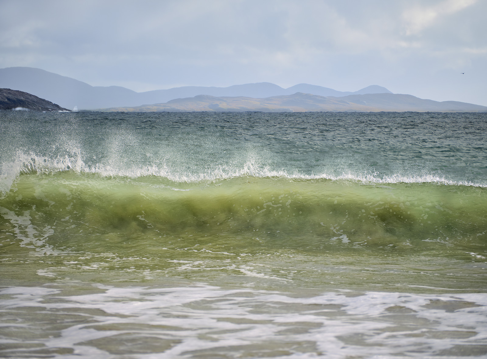 When I am fortunate enough to get an off shore breeze and some big crashing waves the like of which I had at Huisnis in Harris...