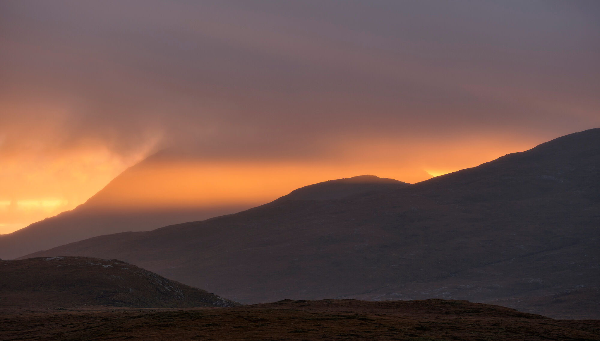 Caramelised Coigach, Knockan Crag, Assynt, Scotland, beamcaramelised, sunset, light, punched, search light, red, photo