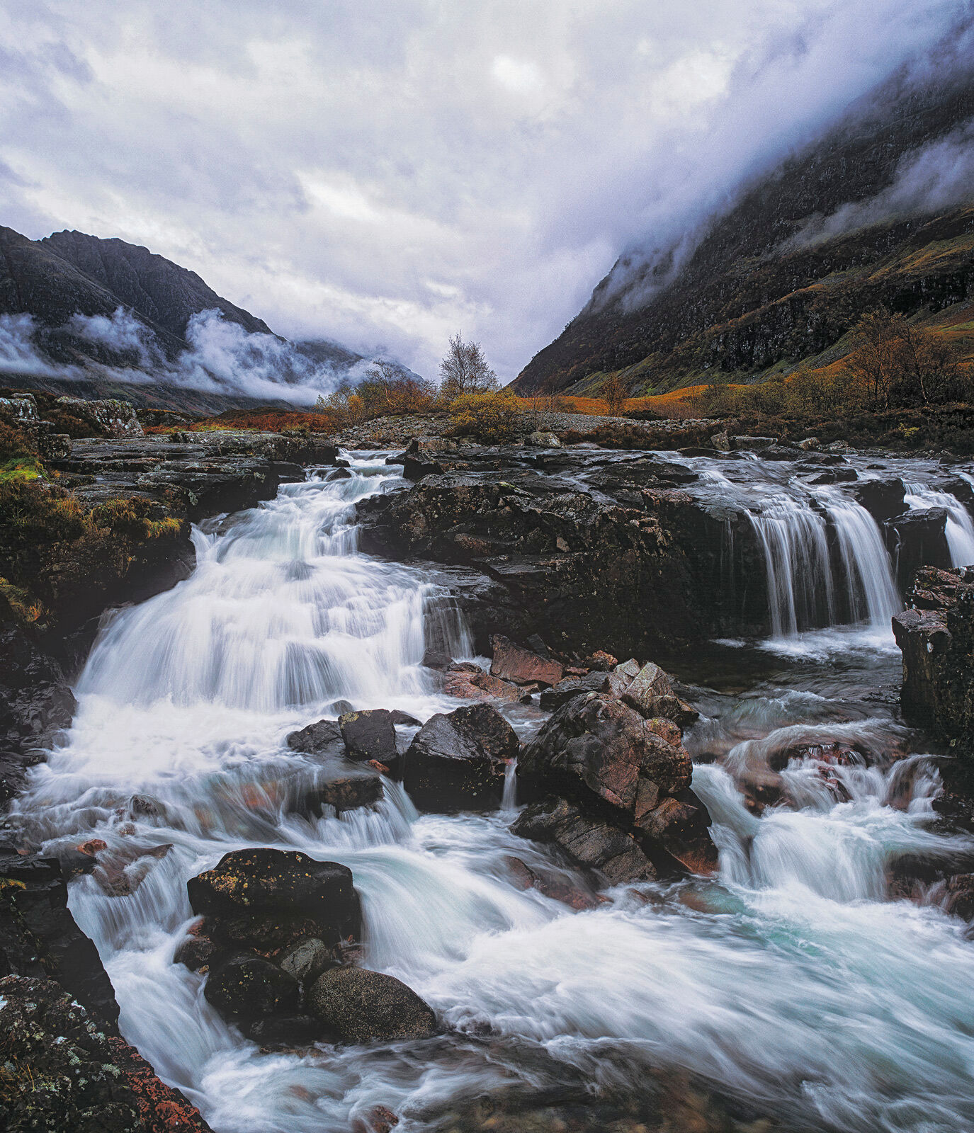 I've always enjoyed the shape and feel of this cascade that rushes down the valley at Glencoe. If you position yourself...