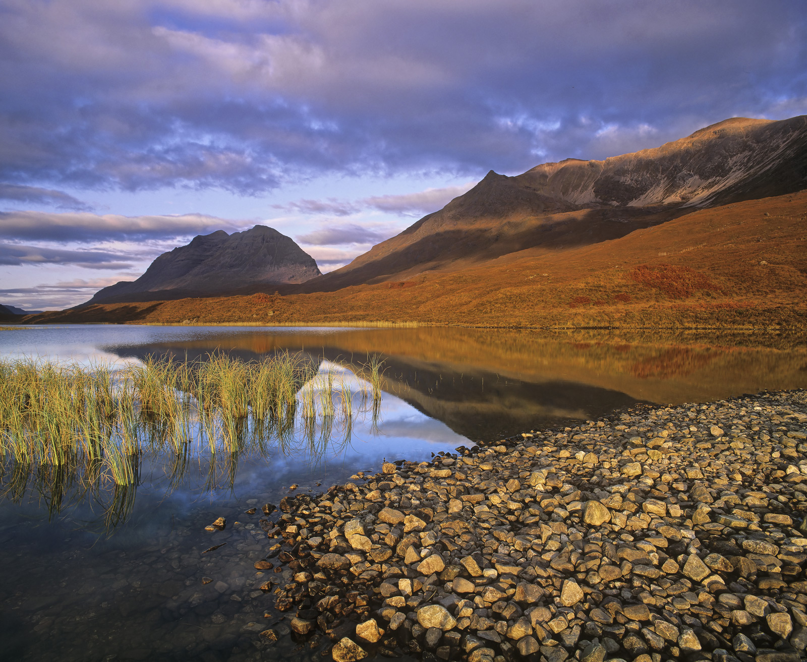 Clair Chroma, Loch Clair, Torridon, Scotland, Liathach, brooding, moraine, reflections, reed bed, sunrise, beautiful , photo