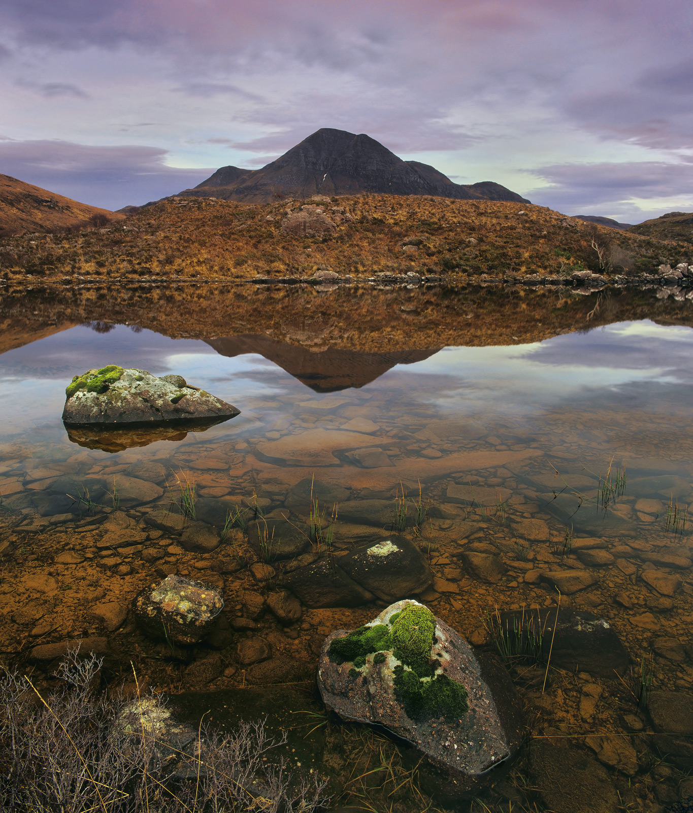 Coffee Granules, Loch Lurgainn, Inverpolly, Scotland, colour, surface, beneath, heather, bracken, bedrock, stone, polari, photo