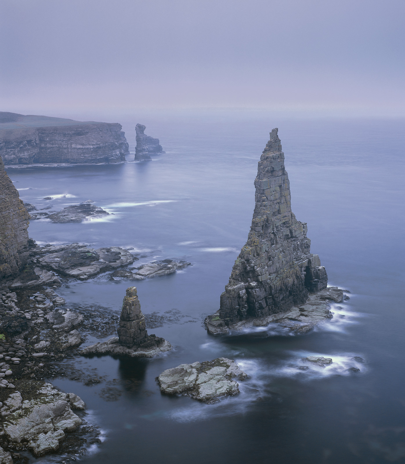 Cold Dawn Duncansby, Duncansby Head, Caithness, Scotland, sunrise, haar, visibility, rock stacks, long exposure, soft, b, photo