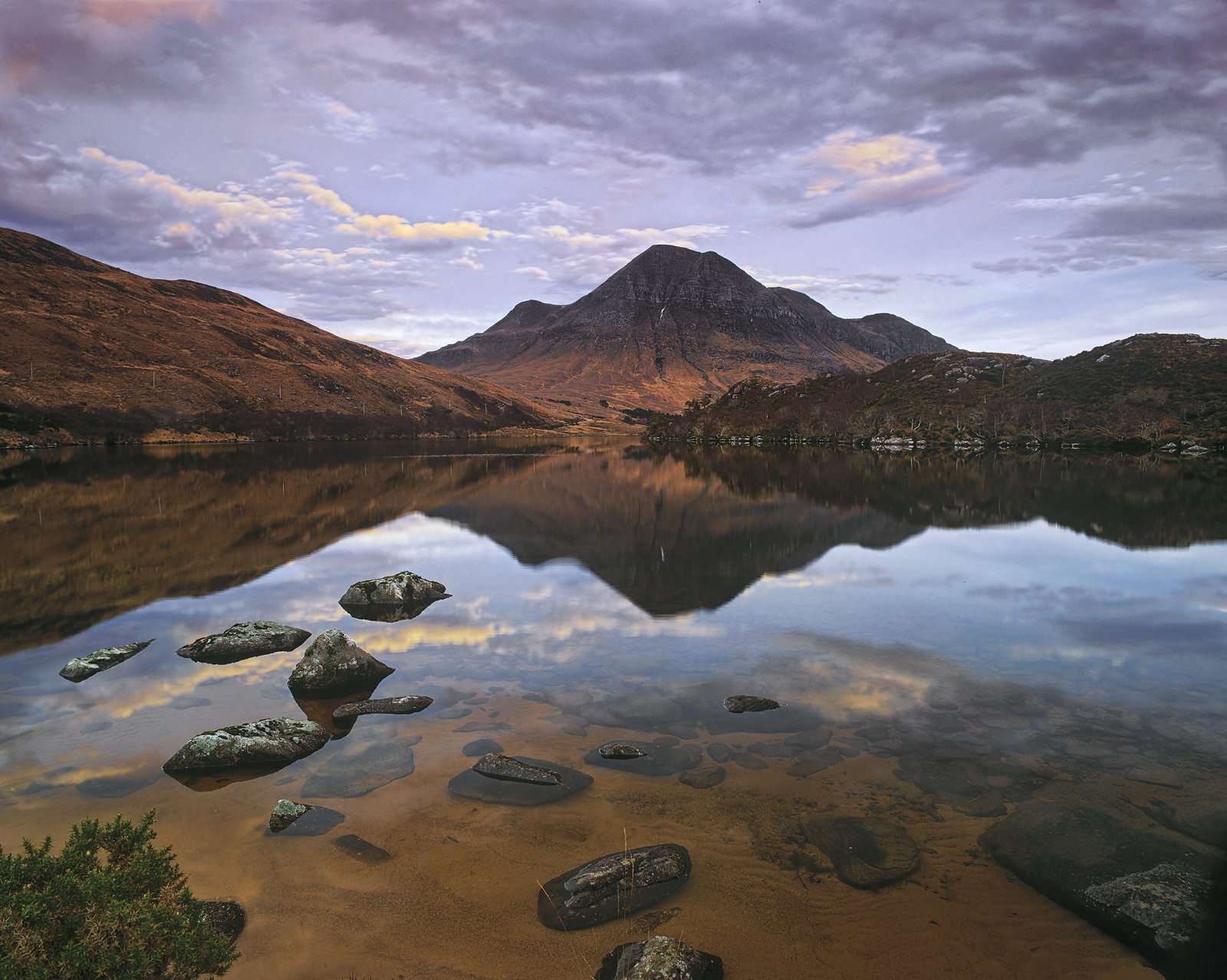 Cul Beag Reflection, Loch Lurgainn, Inverpolly, Scotland, still, autumnal, reflection, caramel, bedrock, mirror, sunset , photo