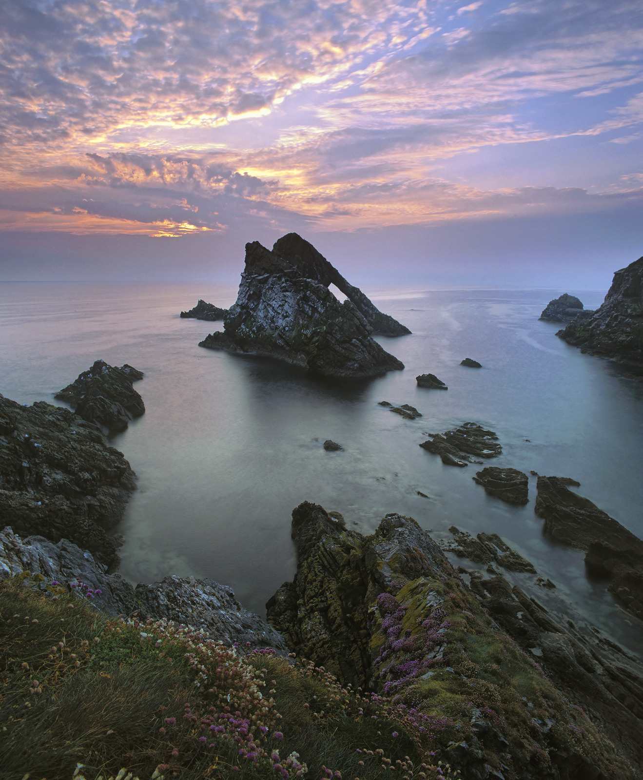 Dawn Chorus Portknockie, Portknockie, Moray, Scotland, symphony, sunrise, water colour, sky, Bowfiddle rock, cliff, flow, photo