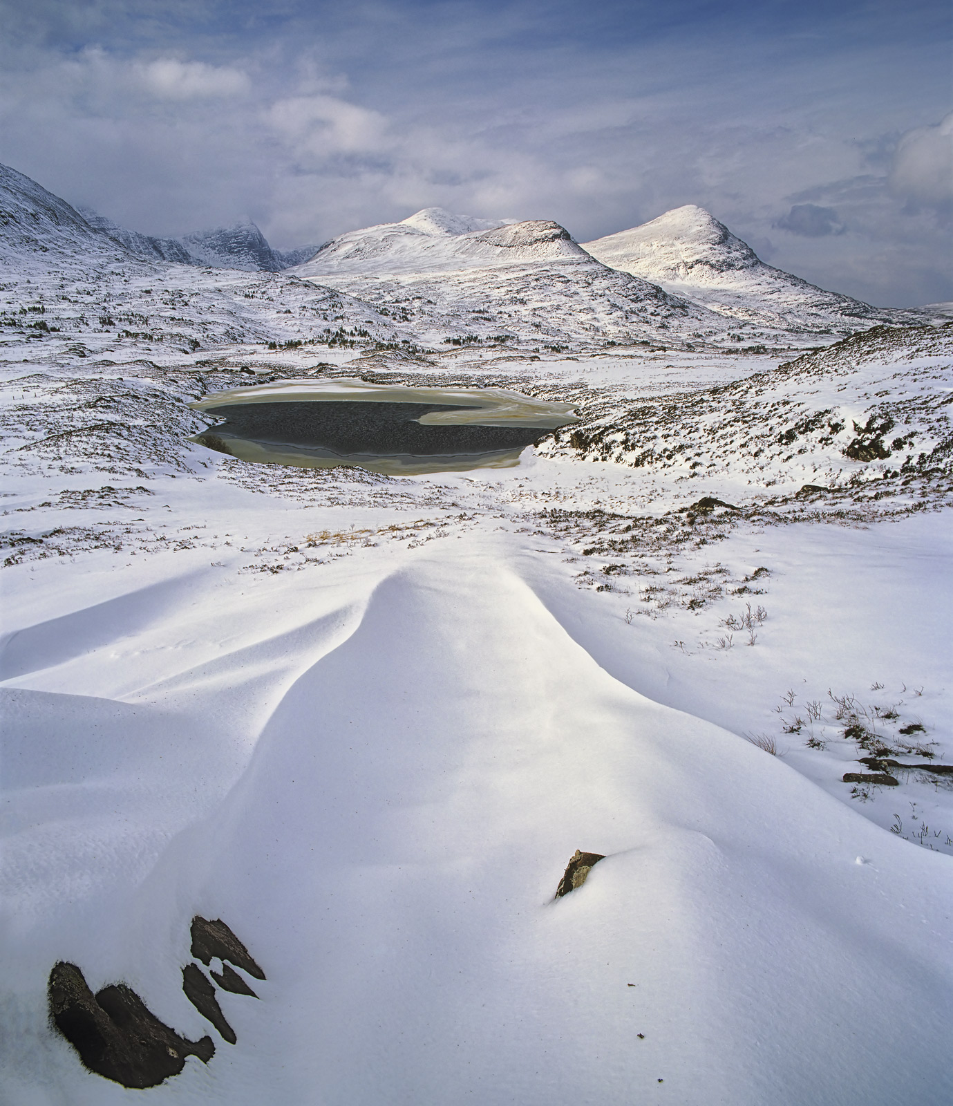 Drift Lines Drumrunie, Drumrunie, Inverpolly, Scotland, beautiful, sculpted, snow, lines, triangulate, frozen, basin , photo