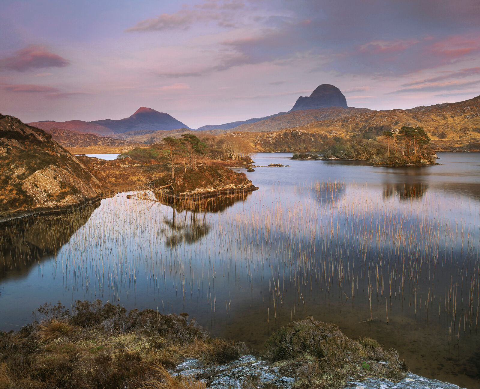 This well hidden lochan provides a stunning view across islands, reeds and scots pine to Suilven which from this aspect looks...